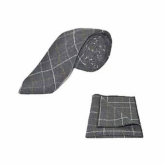 Heritage Check Charcoal Grey Tie & Pocket Square Set