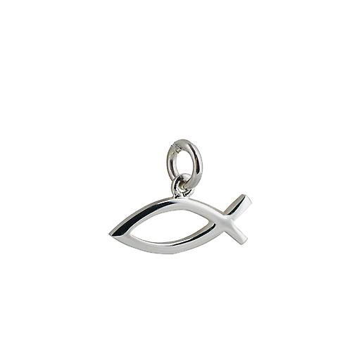 Silver 7x20mm plain Christian Fish pendant or charm