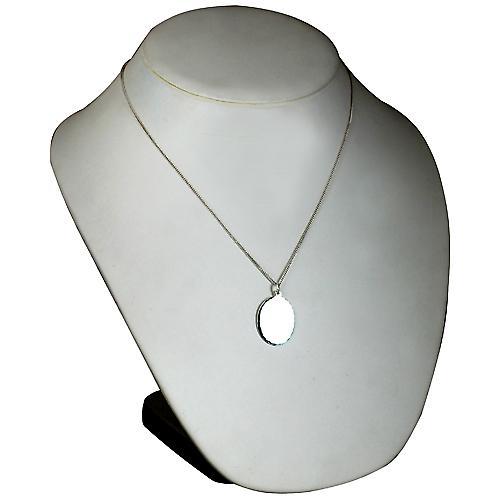 Silver 27x21mm diamond cut edge oval Disc with a curb Chain 20 inches