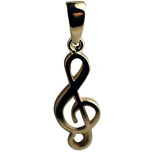 9ct Gold 27x11mm G Clef Pendant