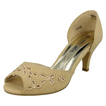 Womens Spot On Peep Toe Slip On Court Shoe F10139