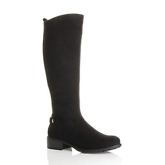 Ajvani womens calf mid heel flat zip stretch gusset riding knee boots