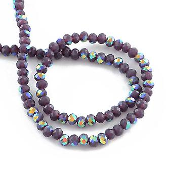 95+ Purple Czech Crystal Opaque Glass 4 x 6mm AB Faceted Rondelle Beads HA20145