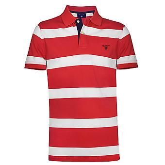 GANT GANT Red Block Striped Polo Shirt