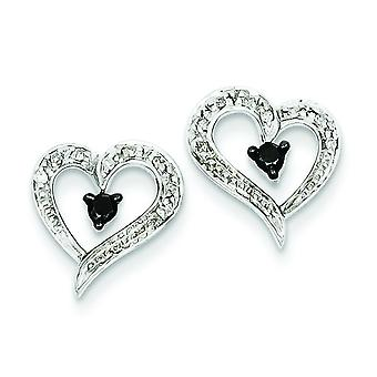 Sterling Silver Polished Prong set Open back Gift Boxed Rhodium-plated Black and White Diamond Heart Post Earrings