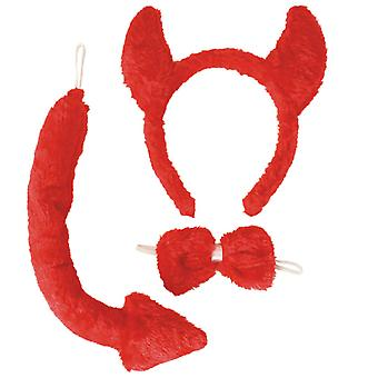 Devil set 3 pieces plush red headband with horns loop Devil tail demon accessory