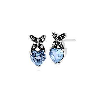 Gemondo Sterling Silver Topaz & Marcasite Novermber Stud Earrings