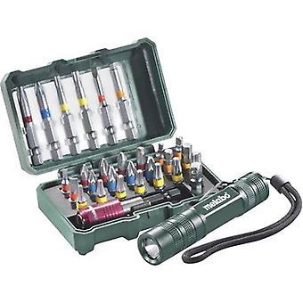 Ustawiony bit 29-kawałek Metabo 626721000 Pozidriv, Phillips, gniazda, Allen, TORX gniazdo mini latarka LED wraz z