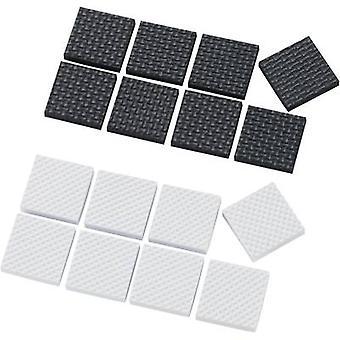Foten selvklebende, firkantet hvit, svart (L x b x H) 25 x 25 x 4 mm 16 eller flere PCer