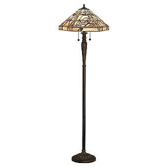 Intérieurs 1900 Clematis 2 verre Tiffany lampe de plancher à Bron