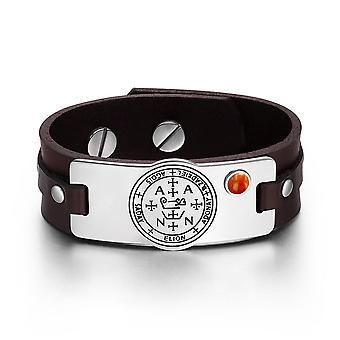 Arkhangelsk SADKIEL Sigil magiske krefter Amulet rød jaspis Gemstone justerbar brunt skinn armbånd