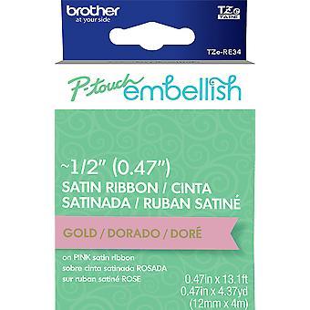 P-Touch Embellish Satin Ribbon-Gold On Pink