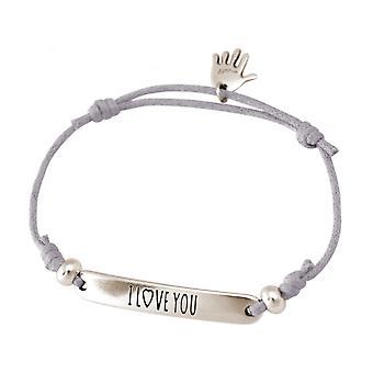 Women - bracelet - engraved - I LOVE YOU - silver - light grey