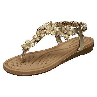 Ladies Savannah Low Wedge Toepost Sandals F00102