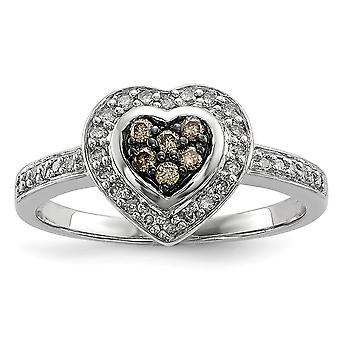 Sterling Silver Gift Boxed Cut-out sides Rhodium-plated Champagne Diamond Small Heart Ring - Ring Size: 6 to 8