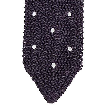 KJ Beckett Pois Brode Silk Tie - Deep Purple/White