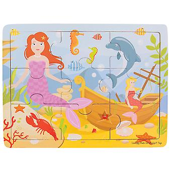 Bigjigs Toys Chunky Wooden Educational Tray Puzzle - Mermaid