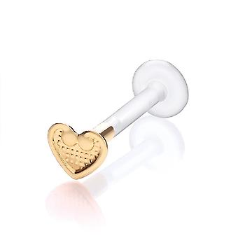 Labret Bar Stud Monroe, Tragus Piercing Bioflex, 9 ct Yellow Gold Vintage Heart