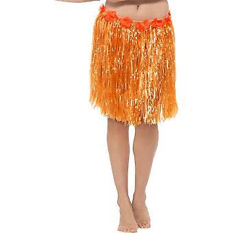 Smiffy's Hawaiian Short Hula Skirt With Flowers, Neon Orange
