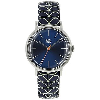 Orla Kiely Silver Case Navy Blue Sunray Dial Navy Blue Leather Strap OK2175 Watch