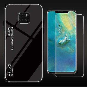 Voor Huawei mate 20 Pro kleur effect dekking zwarte tas Koffer + 4 d gebogen glas