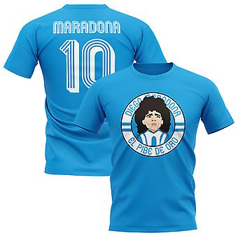 Diego Maradona Argentina Illustration T-Shirt (Sky)