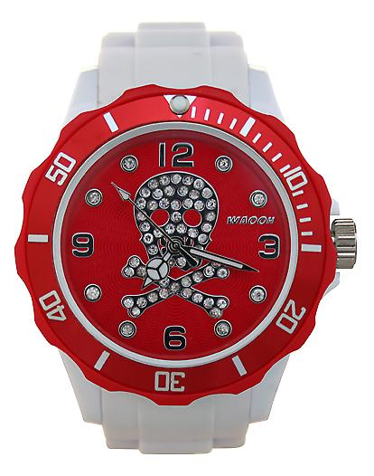 Waooh - Watch Skull Rhinestone White Dial & Bezel 39 Color