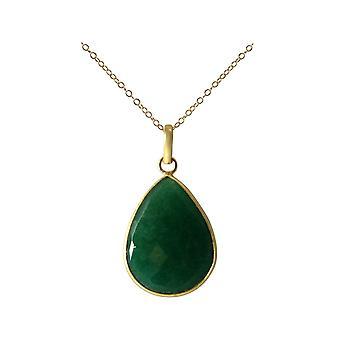 Gemshine colar com pedra preciosa Esmeralda gotas. Pingente em prata 925 ou alta qualidade ouro chapeado cadeia de 60cm. Sustentável, joias de qualidade, feitas em Espanha