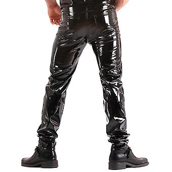 Honour Men's Tight Trousers Jeans Style in PVC Black Classic Fly Front