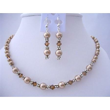 Handcrafted Custom Bronze Pearls & Smoked Topaz Crystals Necklace Set