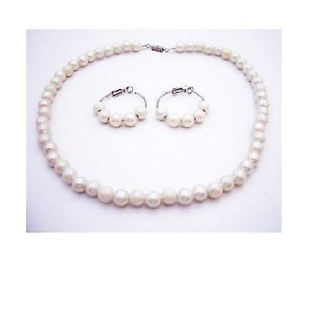 Flower Girl Ivory Beads Necklace Set Under $5 Jewelry