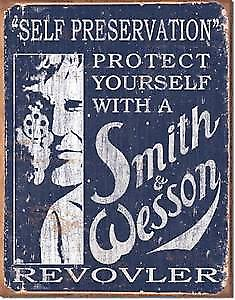 Smith & Wesson Self Preservation metal sign
