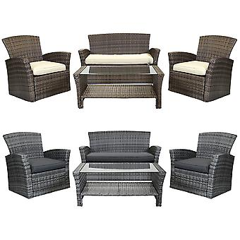 Charles Bentley Modern 4 Piece Rattan Garden Patio Furniture Set-wetterfestes Tempered Glass in Natural/Grey