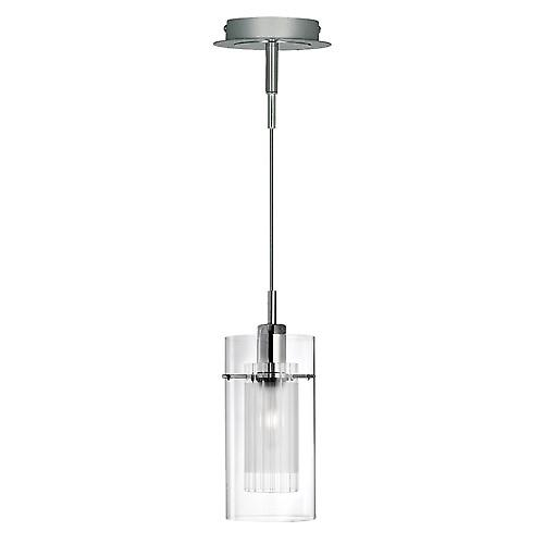 Searchlight 2301 Duo 1 Light Pendant With Clear Outer And Frosted Inner Glass
