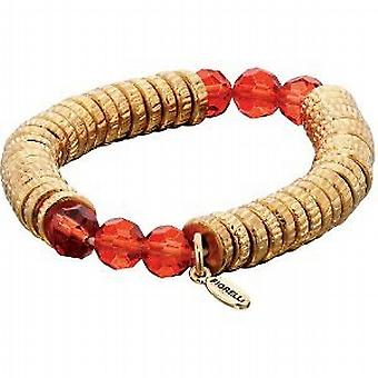 Fiorelli Ladies Gold and Red Crystal Bead Stretch Candy Bracelet B4036
