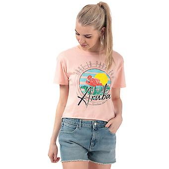 Womens Brave Soul Flamingo T-Shirt In Shell Pink