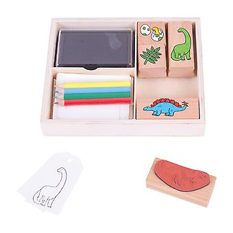 Bigjigs Toys Arts & Crafts Dinosaur Stamp and Colour Set with Ink Pad Toy