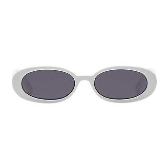 Le Specs Outta Love White Oval Frame Sunglasses