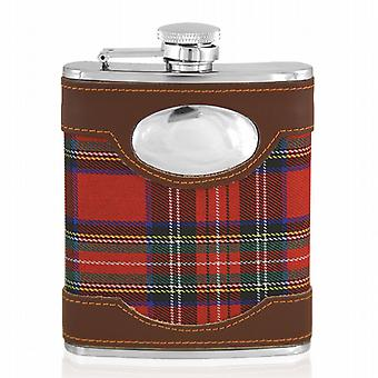 Red Tartan Steel Hip Flask 6Oz With Captive Top - Yes