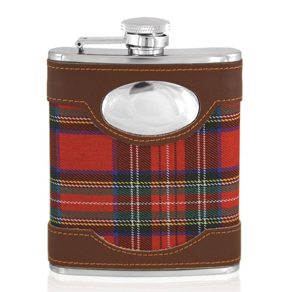 6oz Stainless Steel Leather Red Tartan Flask With Plate - Stl034