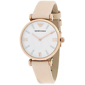 Emporio Armani Ar1927 White Dial Pale Pink Leather Ladies Watch
