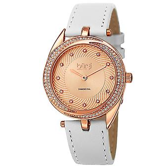 Burgi Women's Quartz Diamond Accented Leather Strap Watch BUR122WTR