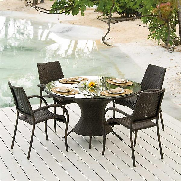 Alexander Rose Ocean Wave 4 Seat Round Garden Furniture Set