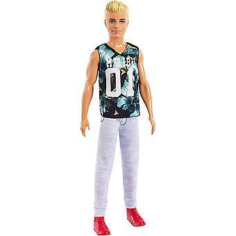 Barbie FXL63 Ken fashionistas boneca, petite, vestindo tropical Malibu Tank