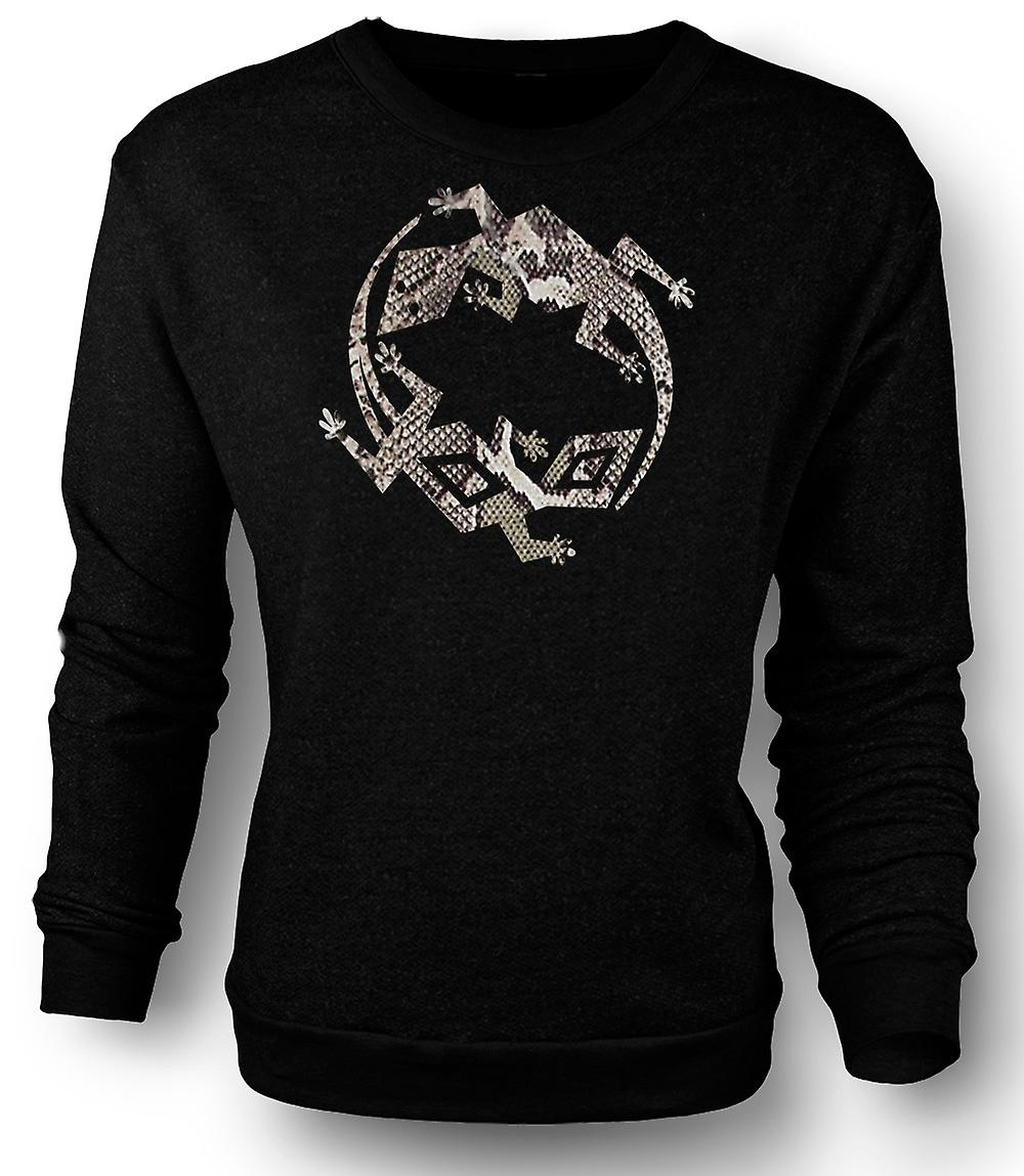 Mens Sweatshirt Lizard and Gecko Symbol - Snake Skin