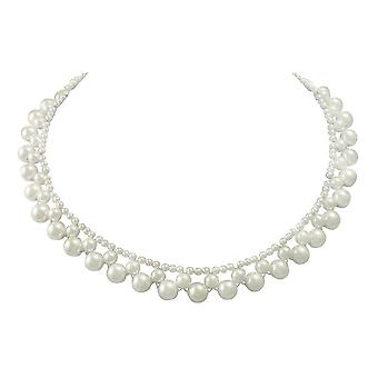 Eternal Collection Versailles White South Sea Shell Pearl Silver Tone Necklace