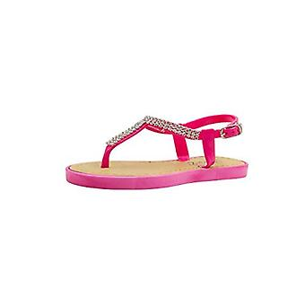 Sara Z Girls Rhinestone Strap Slingback Thong Sandal