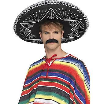 Deluxe Auténtico Sombrero Negro, Trenzado de Plata, Vestido de Fantasía Mexicano