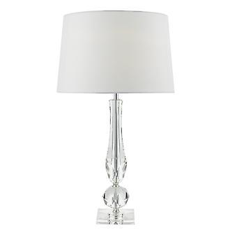 Macy tafel lamp cut Crystal Base C/w witte faux zijde bekleed schaduw
