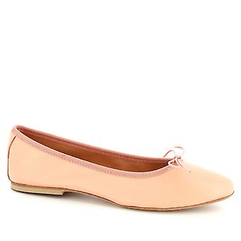 Leonardo Shoes Women's handmade ballet flats shoes in pink calf leather